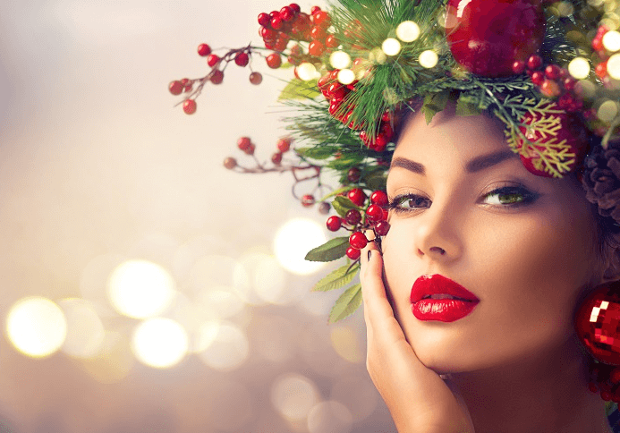 new year holiday makeup beautiful girl with red lip stick and christmas tree