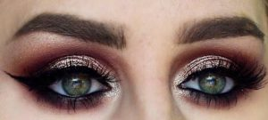 eye makeup with cut crease and metallic eye shadow