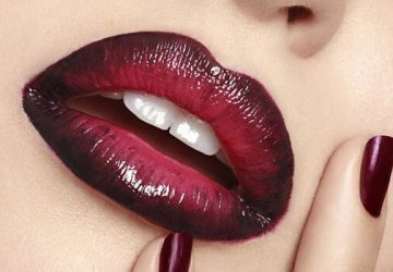 red and black ombre lips and dark red nails