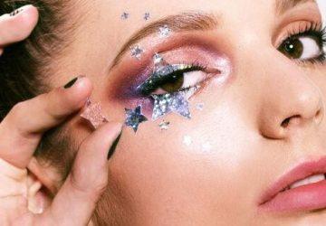 trendy makeup summer 2018 glitter on face