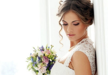 wedding makeup bride with flowers