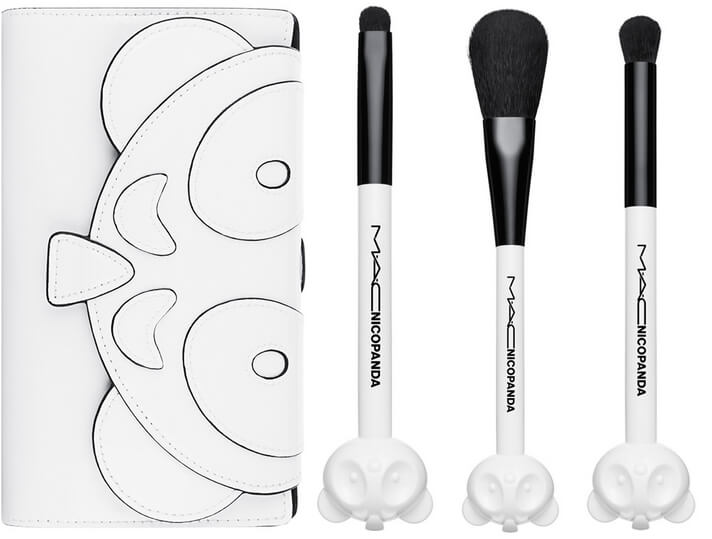 mac nicopanda beauty bag and brushes
