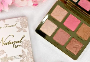 too faced natural face palette open with packaging